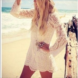 Free People | Cream Embroidered Dress